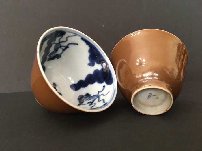 Tea cup (2) - Cafe au lait - Porcelain - China - 18th century