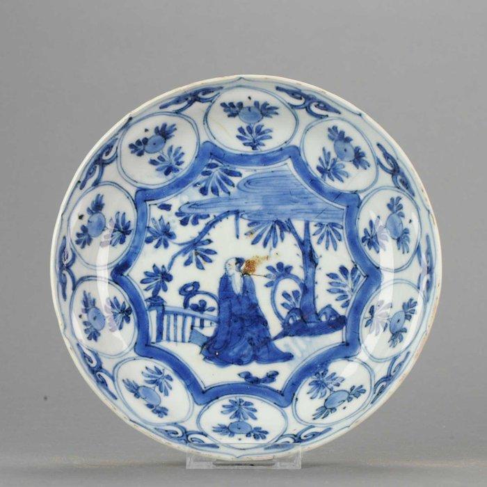 Plate - Porcelain - Ming/Transitional Kraak Literatus dish with Box - China - Transitional Period