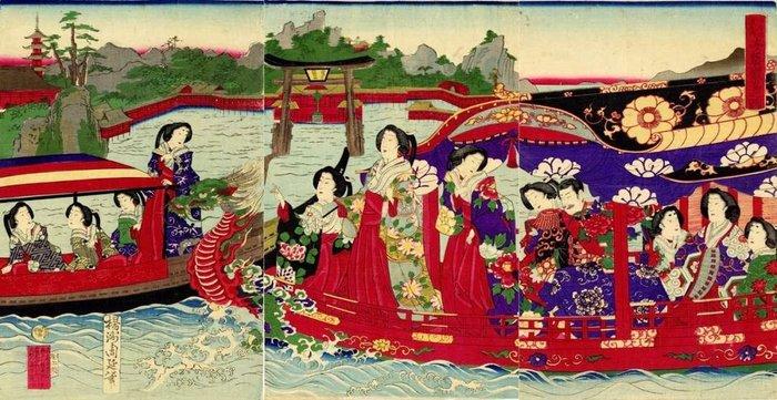 "Original woodblock print, Triptych - Paper - Woman - Toyohara Yoshu Chikanobu (1838-1912) - 'Itsukushima in Aki Province' 安芸厳島之図 - From the series ""Three Famous Sights of Japan"" 日本三景之内 - Japan - Meiji period (1868-1912)"