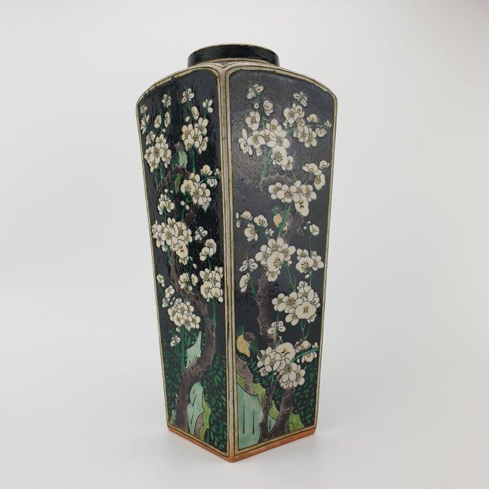 Vase, Square vase (1) - Famille noire, Famille verte - Porcelain - Bird, Flowers, Prunus - Exquisite 19th Century Chinese Kangxi Square Vase with Famille Noire and Famille Verte Floral Decor - China - 19th century