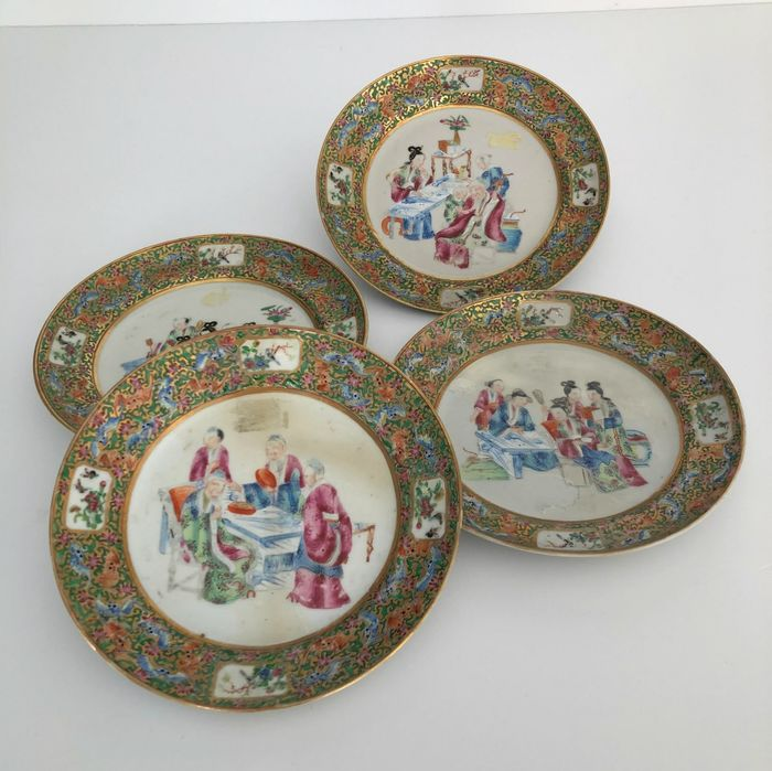 Plate (4) - Porcelain - China - 19th century