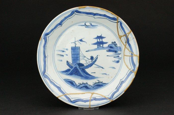 Plate - Porcelain - *Ko-Sometsuke Boat on Cliffs* - China - Tianqi (1621-1627)