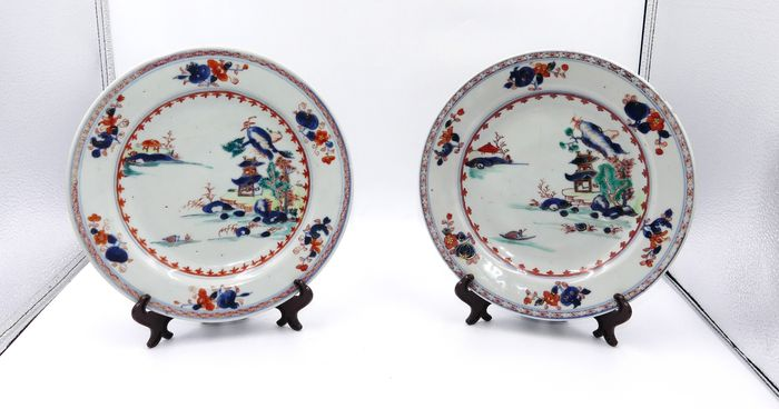 Plates with pagoda decor in a landscape (2) - Porcelain - China - 18th century