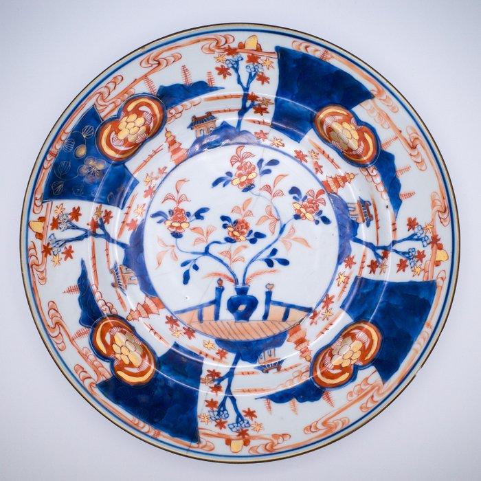 Plate - Imari - Porcelain - Large Imari Plate with Staple Repair - China - Kangxi (1662-1722)