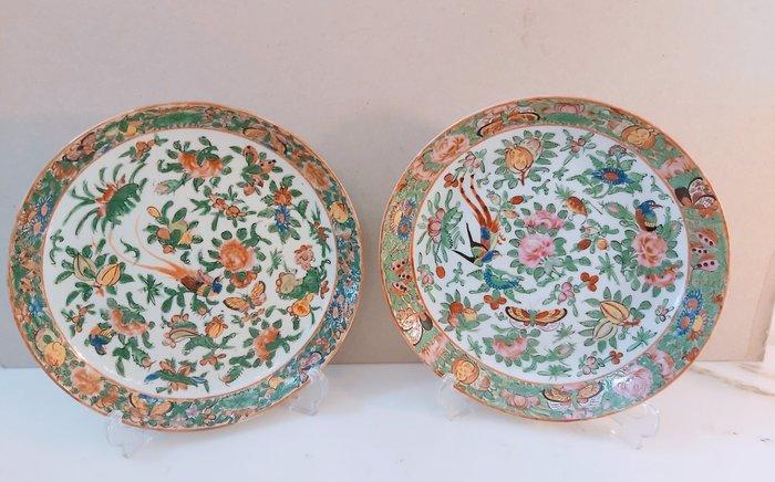 Dish (2) - Rose Canton - Porcelain - China - Late 19th century