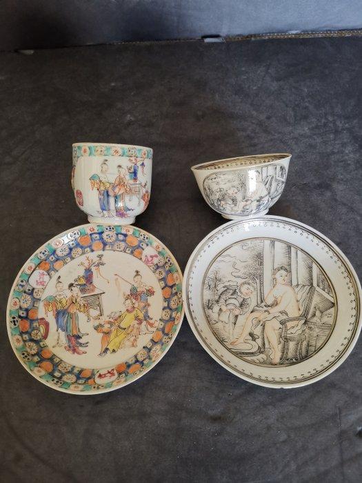 Saucers, Tea cups (4) - Porcelain - China - 18th century