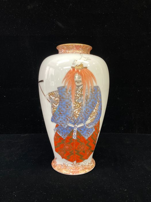 "Kabin 花瓶 (Flower vessel) ,Rare and Important Masterpieces (1) - Ceramic - With mark 'Fukugawa"" - Fukagawa 深川 vase - The attached logo - Japan - Meiji period (1868-1912)"