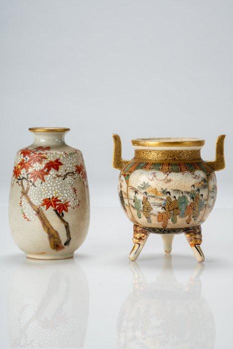 Vase - Satsuma - Ceramic - NO RESERVE PRICE - Lotto di due vasi Satsuma - Japan - Meiji period (1868-1912)