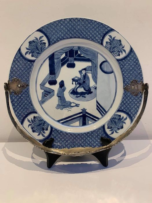 Plate - Porcelain - LARGE (28cm) Plate - HIGH QUALITY - silver handle - China - Kangxi (1662-1722)