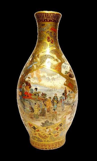 Baluster vase - Porcelain - PO - With golden mark 'Satsuma yaki' 薩摩焼 - Japan - Meiji period (1868-1912)