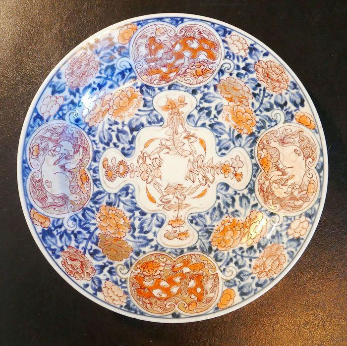 Dish - Earthenware - Flowers, Lion - Les Quatre Lions - Japan - Meiji period (1868-1912)