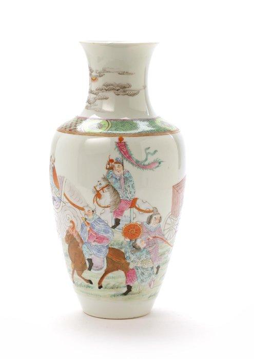Vase - Famille rose - Porcelain - Warrior, Elephant - China - 19th century