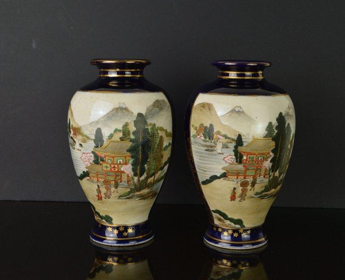 Vases (2) - Satsuma - Porcelain - With mark 'Fuzan' 冨山 - Japan - Meiji period (1868-1912)