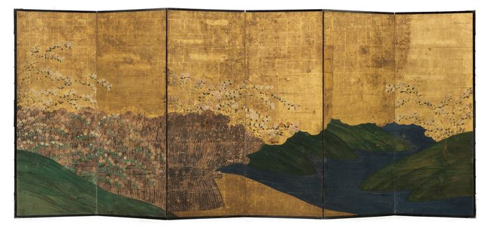 Six-panel byōbu 屏風 (folding screen) - gold leaf - Important 17th century 6 panel screen with a polychrome painting on beautiful warm old gold leaf - Japan - Edo Period (1600-1868)