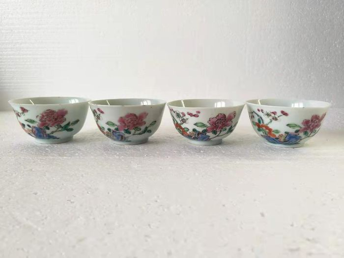 Cup (4) - Famille rose - Porcelain - Flowers - China - Yongzheng (1723-1735)