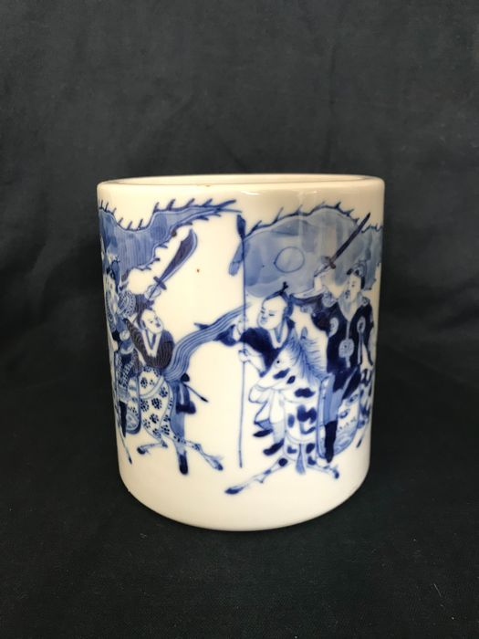 Brush washer - Blue and white - Porcelain - fighters - China - Late 19th century
