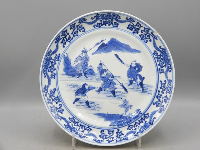 Plate with warriors decoration - Porcelain - China - Guangxu (1875-1908)