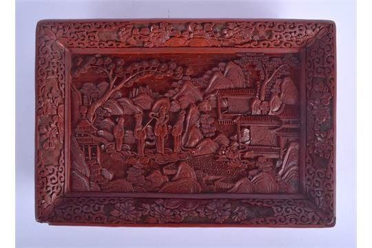 Tray - Lacquer, Wood - RED LACQUER TRAY WITH FIGURAL SCENE - China - 19th century