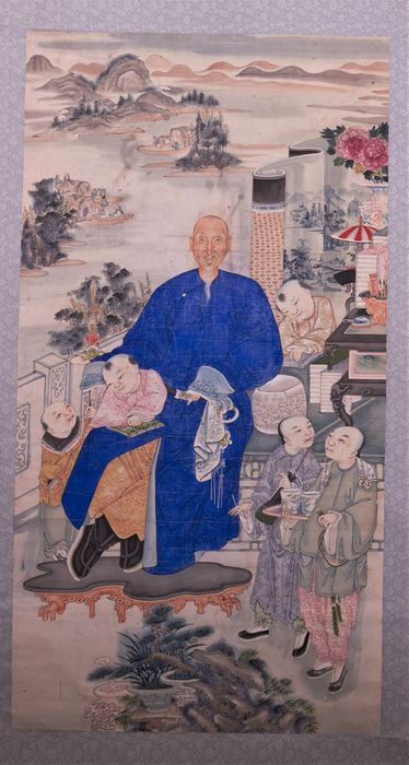 Hanging scroll, Scroll - Paper, Watercolour - PORTRAIT OF A SCHOLAR - China - Qing Dynasty (1644-1911)