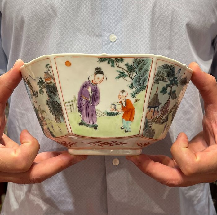 Bowl, Offering bowl (1) - Famille rose - Porcelain - China - Qing Dynasty (1644-1911)