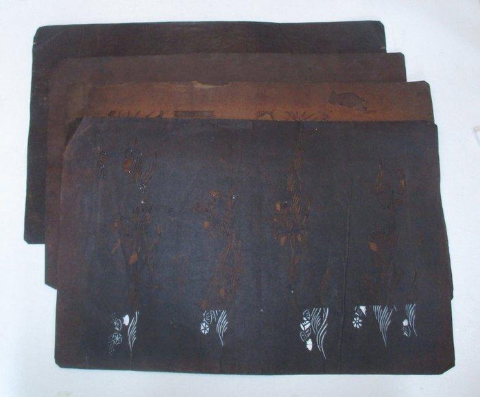 Katagami (4) - Paper - 4 old Katagami paper patterns 型紙 for dyeing Kimono - Japan - Meiji period (1868-1912)