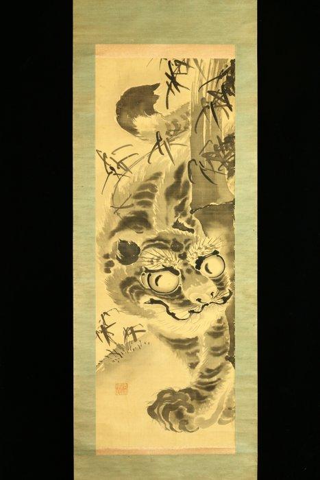 Hanging scroll painting - Silk - 'Seikai' 清海 - Tiger - Nagasaki school style painting With seal 'Seikai' 清海 - Japan - Meiji period (1868-1912)