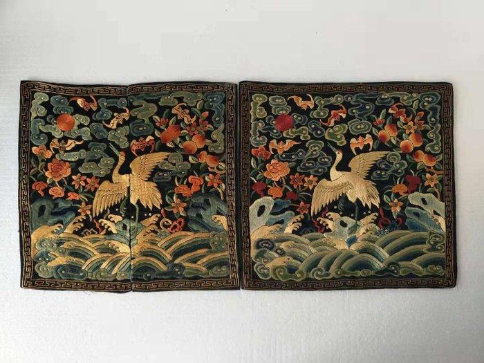 Embroidery, Rank badges (2) - Silk - Crane - China - Qing Dynasty (1644-1911)