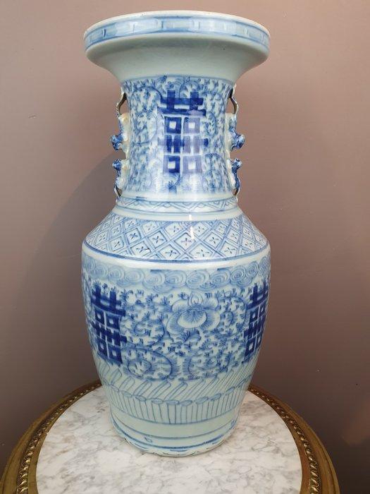 """Vase (1) - Porcelain - Blue-white """"Shou"""" lucky symbols - China - Guangxu (1875-1908)"""