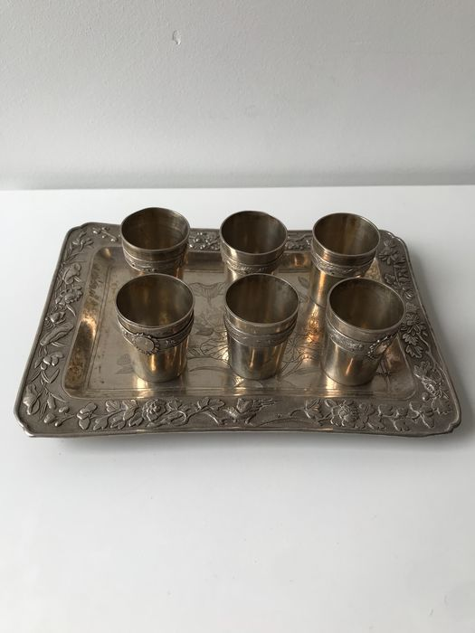Cups, Tray - Silver - China - 19th century
