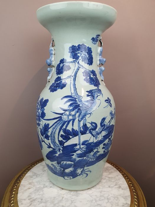 Vase (1) - Porcelain - Blue-white (Celadon) birds & flowers - China - 19th century