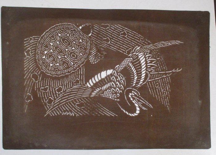 Panel - Paper - 7 old paper Katagami paper patterns 型紙 for dyeing Kimono - Japan - Meiji period (1868-1912)