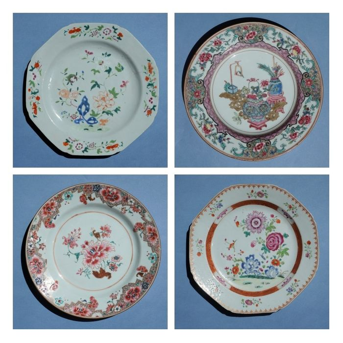 Chinese porcelain plates Famille Rose, Yongzheng / Qianlong (4) - Famille rose - Porcelain - Flowers - China - Qianlong (1736-1795)