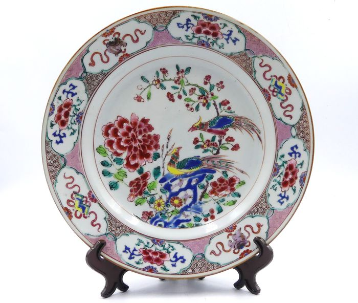 Compagnie des Indes plate decorated with birds of paradise - Porcelain - China - 18th century