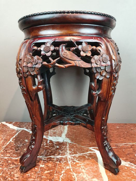 Stool (1) - Hardstone, Wood - Carved with birds and flowers - China - Republic period (1912-1949)
