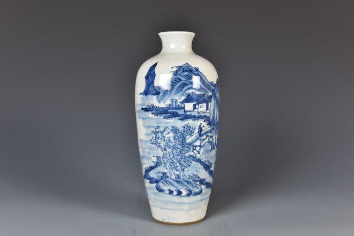 Bottle, Bottle vase (1) - Blue and white - Porcelain - Hotei, Pine tree - China - 19th century