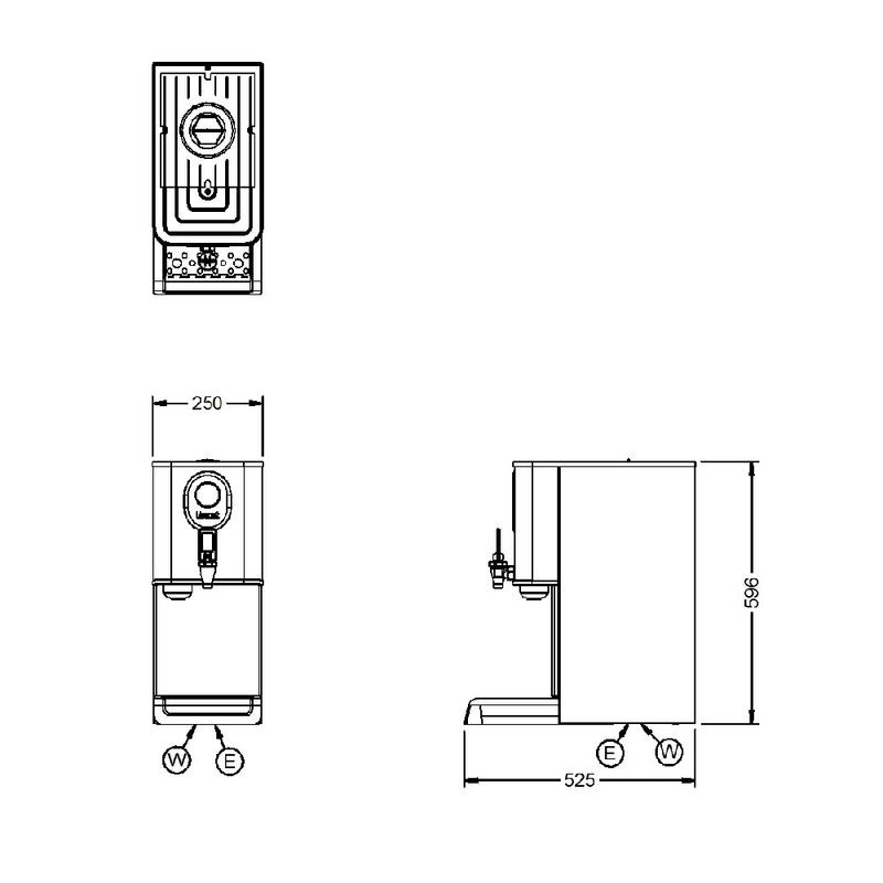 Lincat EB3FX 11 Ltr Automatic Water Boiler, 31 Ltr Per Hour