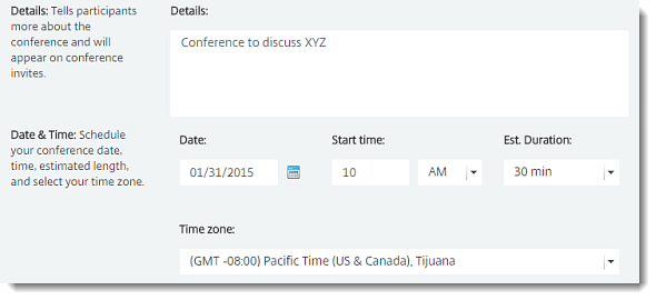 Start, Schedule and Manage Conferences