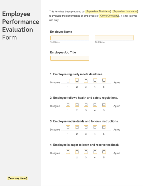 Elucidate the employee assessment criteria by downloading this comprehensively researched performance review template. 2021 Free Employee Evaluation Form Free To Print Edit Sign