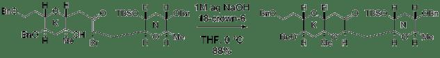 図:第3級アルコールからブロモケトンへの分子内求核環化反応