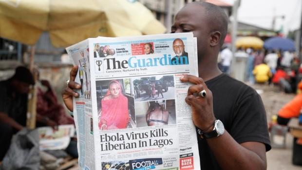 「エボラ」「ラゴス」の2単語が入った新聞(出典:CTV News 2014年7月)