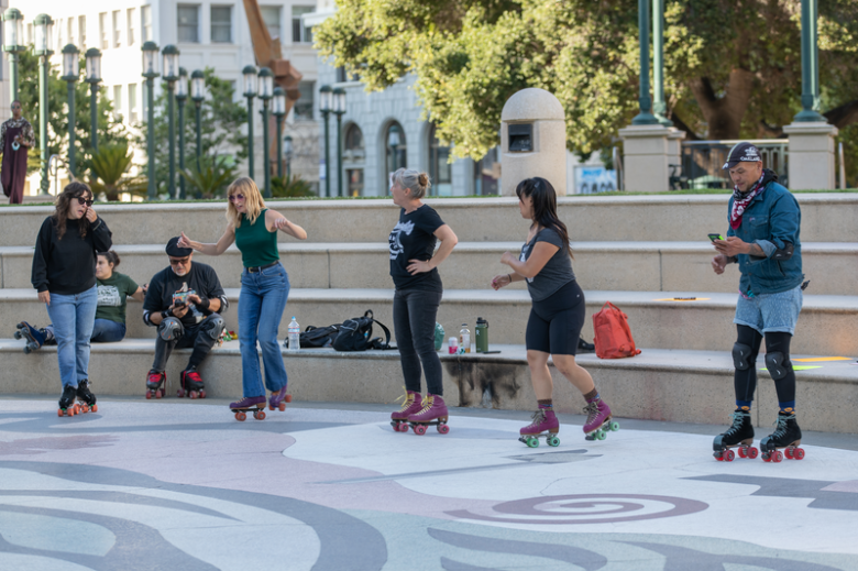 All Wheels meet-up to amplify current issues impacting the skating community by taking up space at Oakland's City Hall.