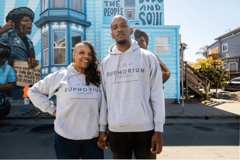 Mother-son owned Cannabis delivery service, Euphorium based in Oakland. Pictured: Tee-Tee (left) and Bryce.
