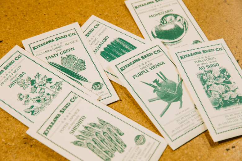 Packets of seeds to grow Asian vegetables from Oakland's Kitazawa Seed Co.