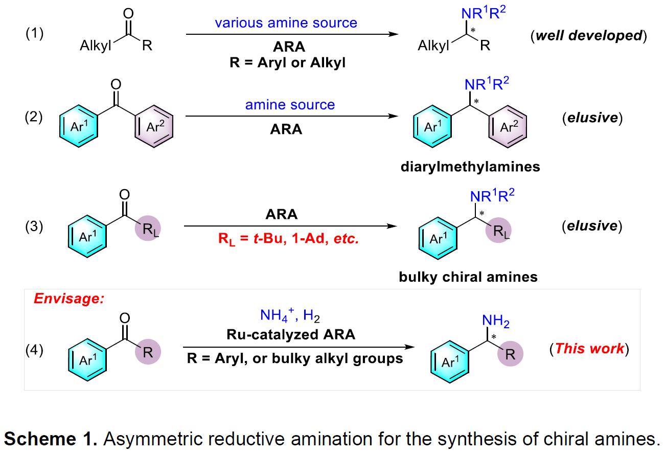南方科技大學張緒穆和殷勤教授團隊Angew:釕催化二芳基或大位阻酮與銨鹽的不對稱還原胺化反應 | 化學空間 ...