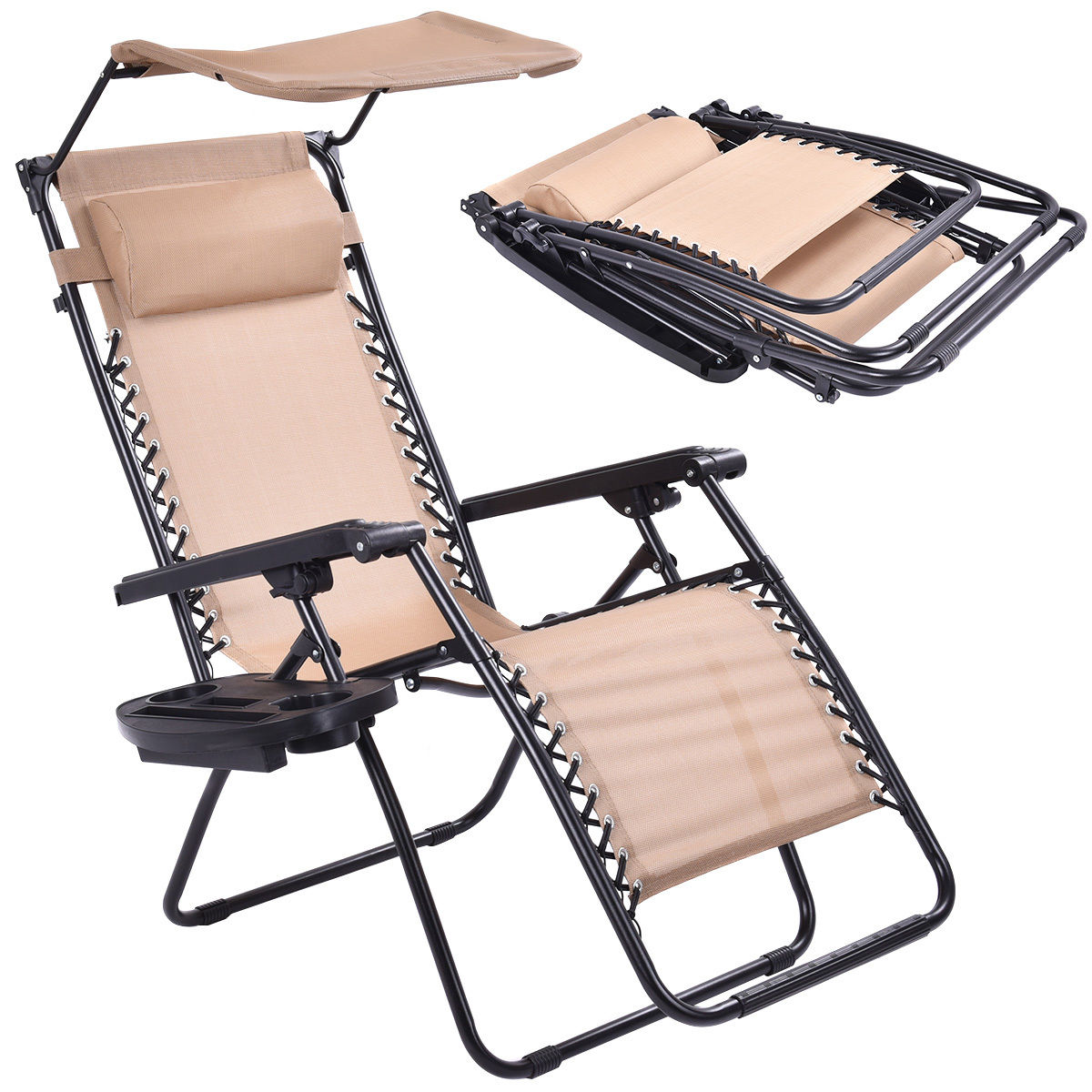 Beach Chair With Canopy And Cup Holder Impex Easy Outdoor Zero Gravity Lounge Rocker