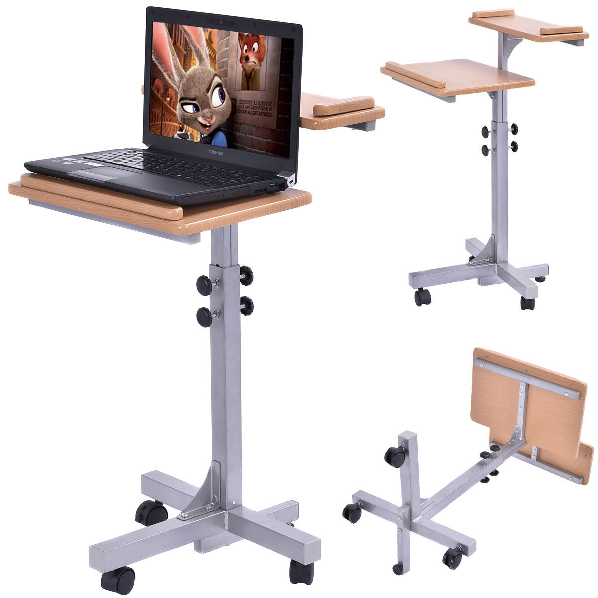 chair computer stand ergonomic the castle adjustable wooden laptop table with work top and wheels