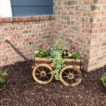 Wood Wagon Flower Planter Pot Stand W Wheels Home Garden Outdoor Decor