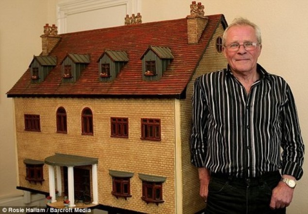 Retired builder Peter Riches has spent 15 years building the dolls house and crafting most of the furniture inside