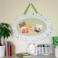 Ugly Plastic Mirror = Shabby Chic Bulletin Board