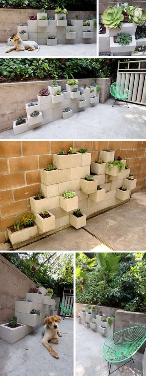 DIY Mod Cinder Block Wall Planters  Curbly  DIY Design  Decor